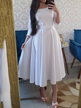 Ericdress Belt Round Neck Mid-Calf Plain Expansion A-Line White Dress