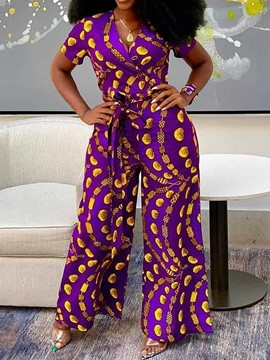 Ericdress African Fashion DashikiGeometric Print High Waist Wide Legs Jumpsuit