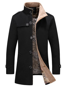 ericdress trench-coat mi-long unicolore décontracté