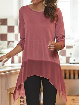 Ericdress Asymmetric Color Block Mid-Length Three-Quarter Sleeve Slim Casual T-Shirt