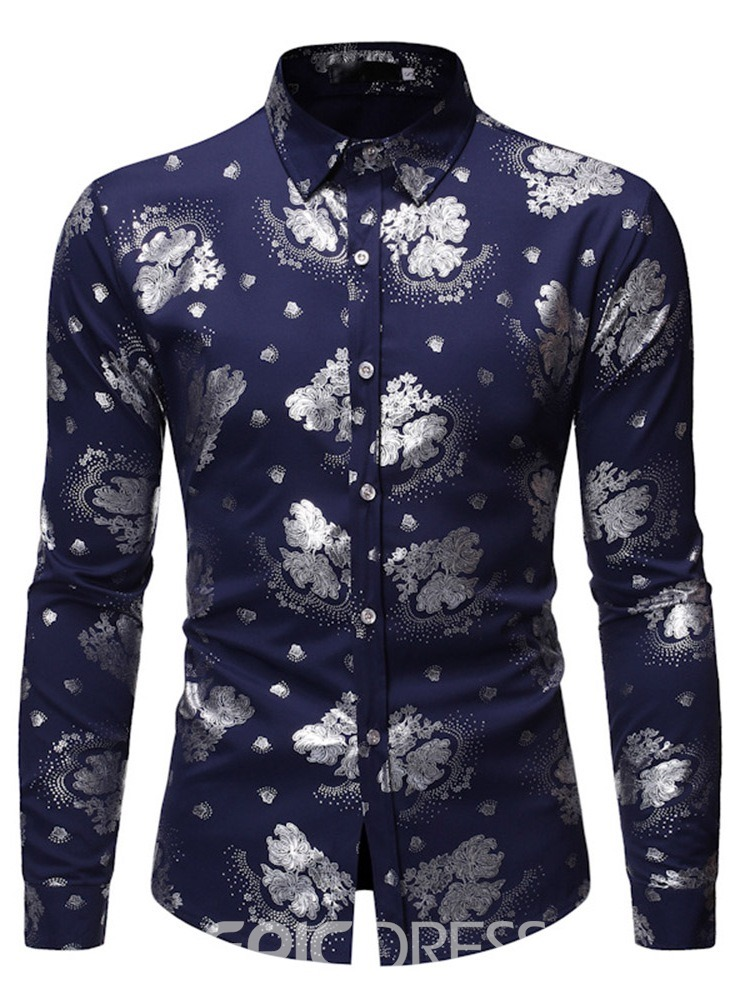 Ericdress Color Block Print Casual Men's Single-Breasted Shirt