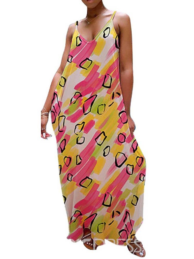 Ericdress Ankle-Length Print V-Neck Pullover Summer Casual Dress