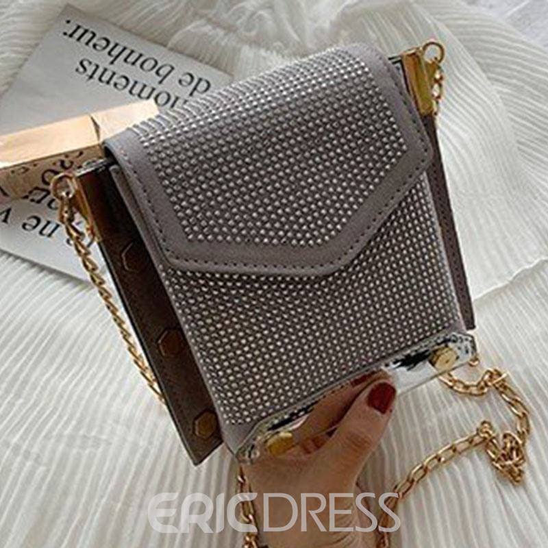 Ericdress PU Rhinestone Chain Rectangle Crossbody Bags