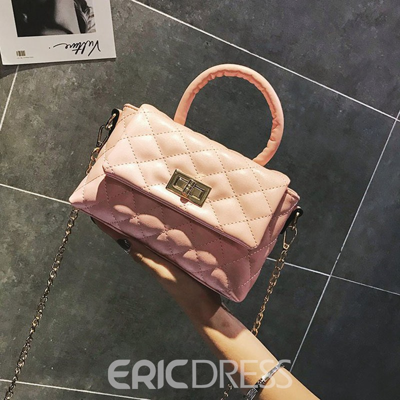 Ericdress PU Plaid Lock Rectangle Tote Bags