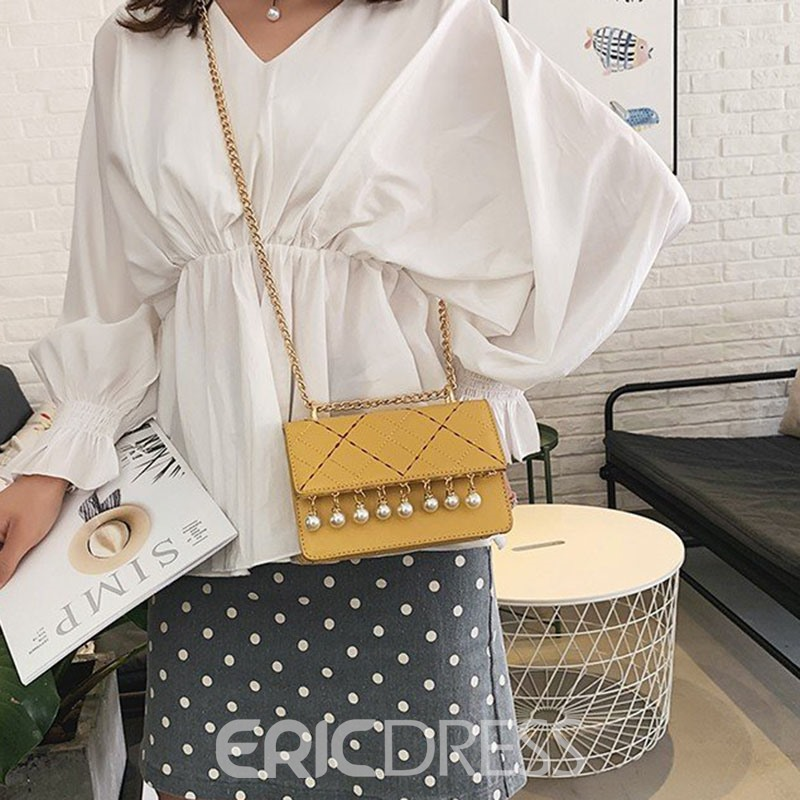 Ericdress PU Plaid Chain Rectangle Crossbody Bags