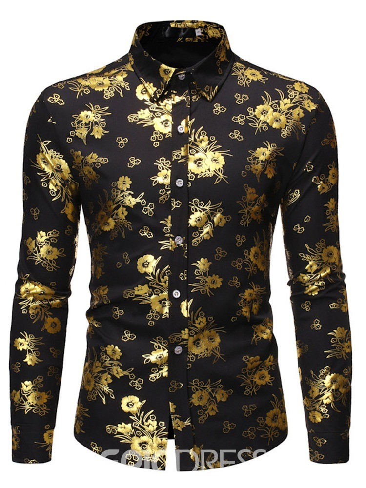 Ericdress Floral Lapel Print Men's Single-Breasted Shirt