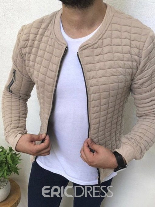 Ericdress Zipper V-Neck Men's Plain Jacket
