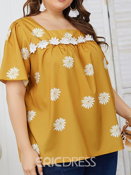 Ericdress Square Neck Print Color Block Mid-Length Short Sleeve Blouse