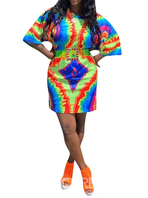 Ericdress African Fashion Three-Quarter Sleeve Round Neck Above Knee Bodycon Dress