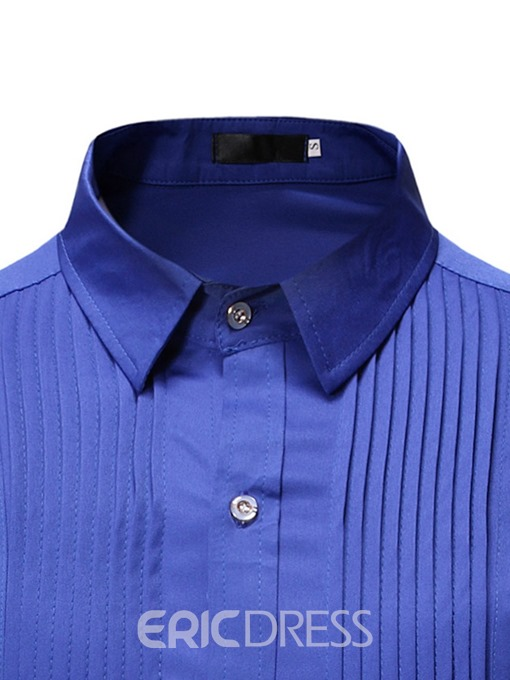 Ericdress Plain Button Casual Single-Breasted Men's Slim Shirt