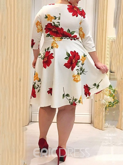 Ericdress Plus Size Floral Print Mid-Calf A-Line Sweet Dress