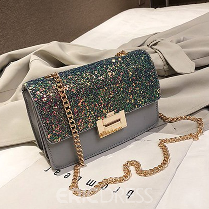 Ericdress PU Sequins Rectangle Crossbody Bags