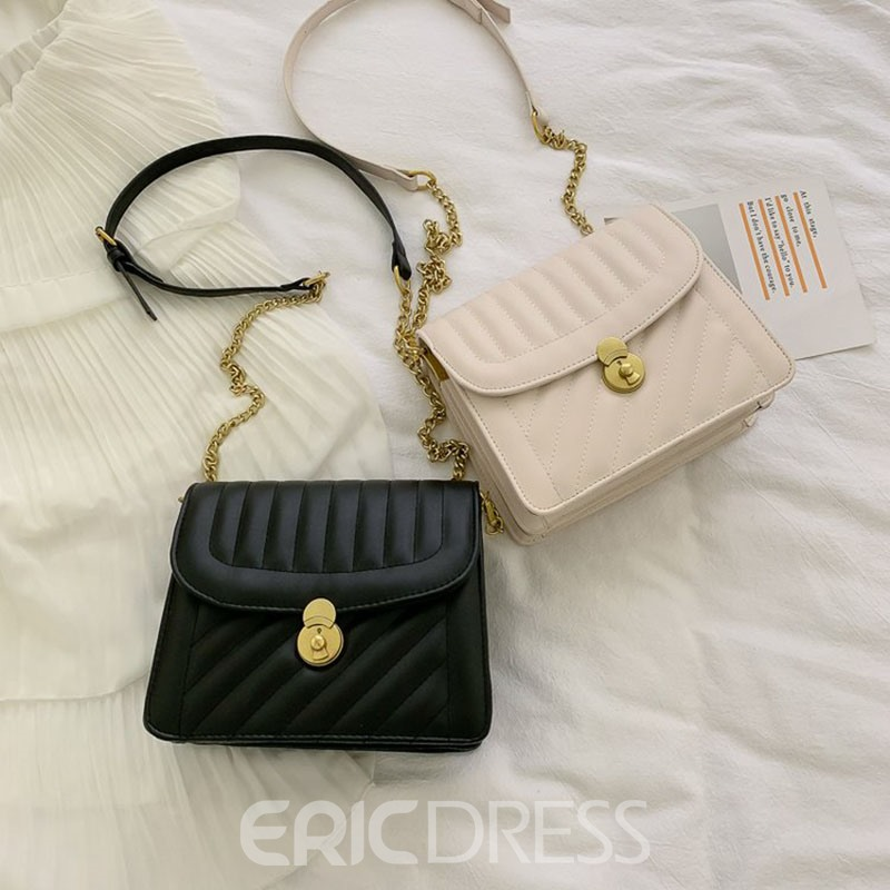 Ericdress PU Lock Chain Rectangle Crossbody Bags