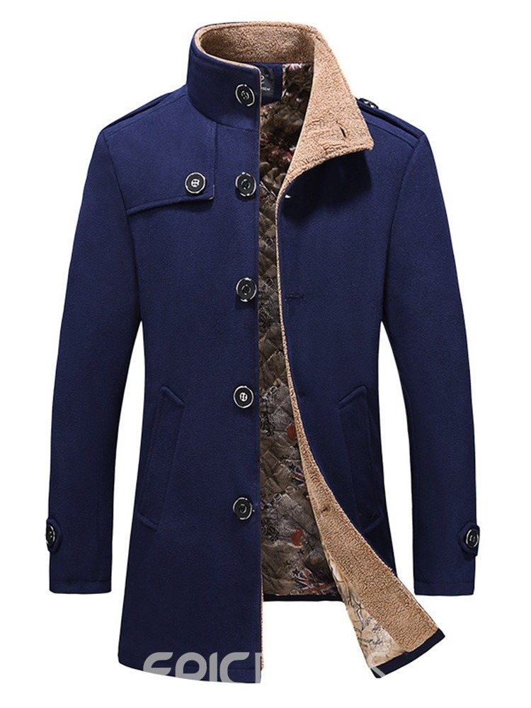 Ericdress Stand Collar Mid-Length Plain Casual Single Men's Trench Coat