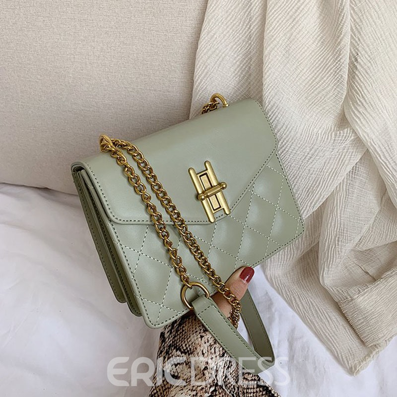 Ericdress PU Chain Plaid Rectangle Crossbody Bags