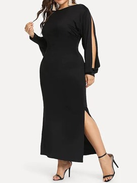 Ericdress Long Sleeve Ankle-Length Round Neck Plain Pullover Dress