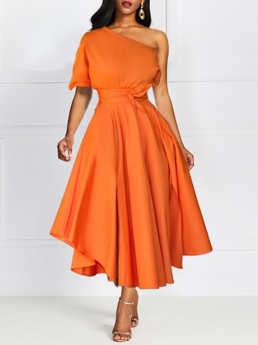 Ericdress Mid-Calf Pocker A Line Pleated Dress