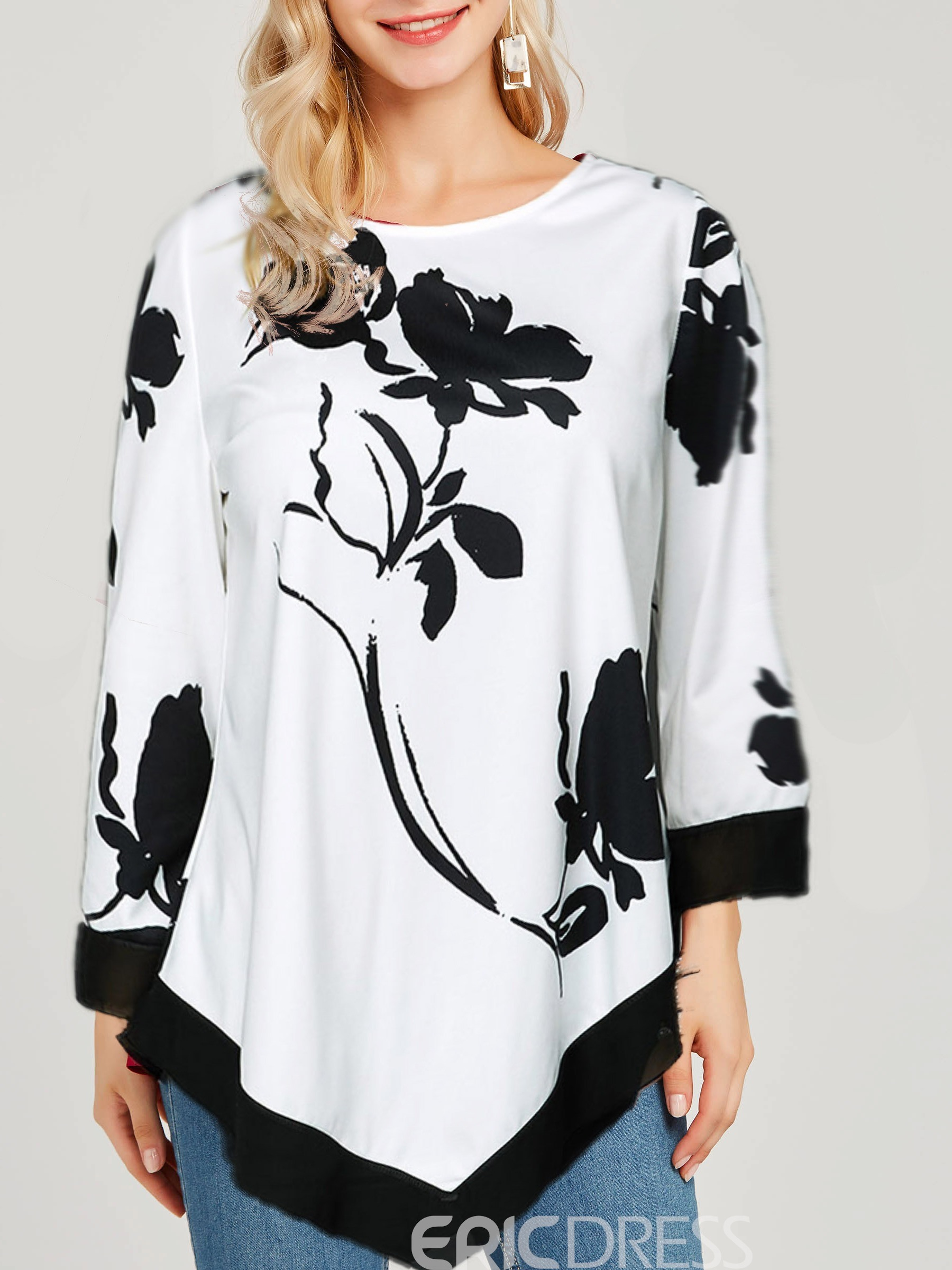 Ericdress Plant Three-Quarter Sleeve Round Neck Loose T-Shirt