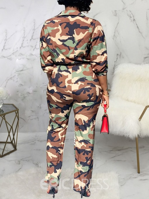 Ericdress Full Length Fashion Camouflage Straight Slim Jumpsuit