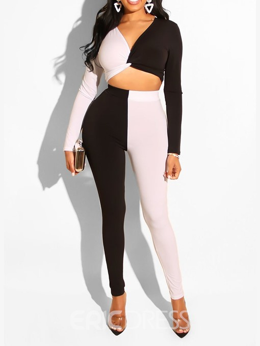 Ericdress Color Block Shirt V-Neck Pullover Two Piece Sets