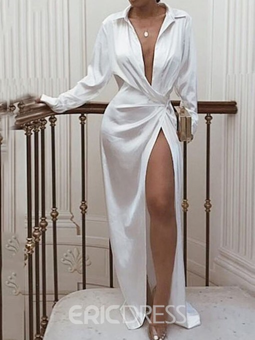 Ericdress White Dress Floor-Length Split Long Sleeve Polo Neck A-Line Women's Maxi Dress