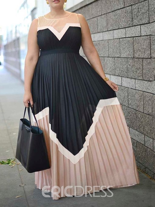 Ericdress Pleated Color Block Expansion Round Neck Sleeveless Floor-Length Dress