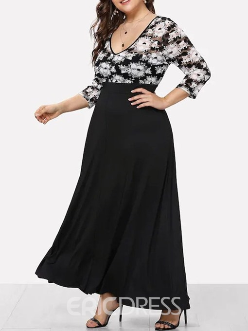 Ericdress Plus Size Patchwork OL Three-Quarter Sleeve Ankle-Length Regular High Waist Dress
