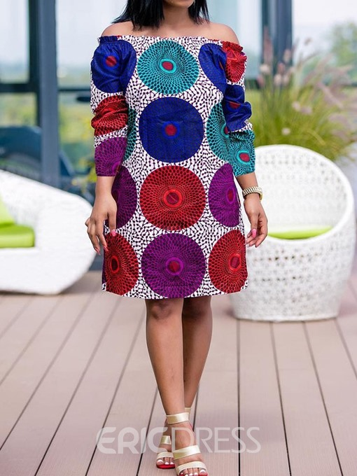 Ericdress African Fashion Long Sleeve Knee-Length Off Shoulder Casual Dress