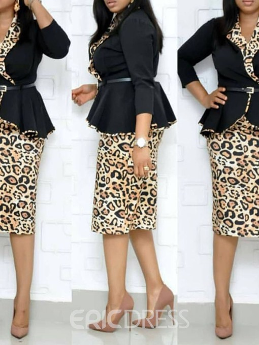 Ericdress Print Three-Quarter Sleeve Notched Lapel Bodycon Leopard Dress
