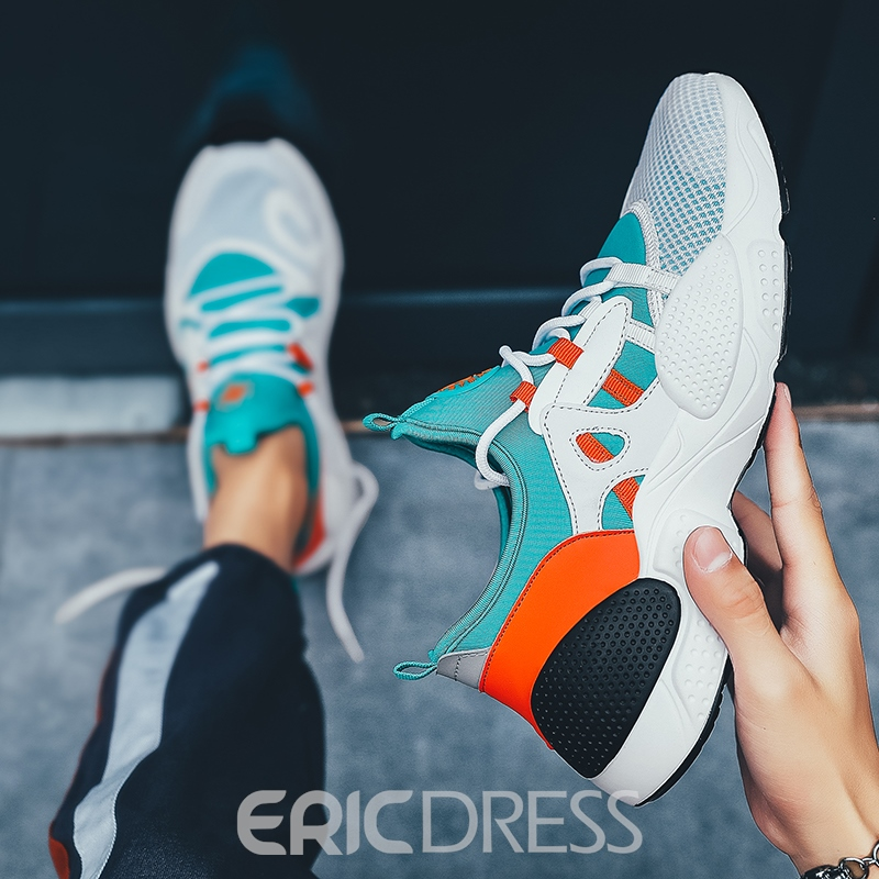 Ericdress Color Block Lace-Up Men's Mesh Running Shoes