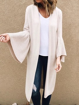 Ericdress Flare Sleeve Wrapped Cardigan Straight White Sweater