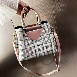 Ericdress PU Plaid Zipper Rectangle Tote Bags