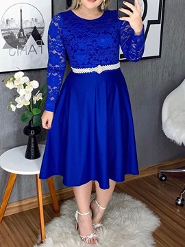 Ericdress Plus Size Lace Patchwork Mid-Calf Long Sleeve Hollow Plain Dress(Without Waistband)