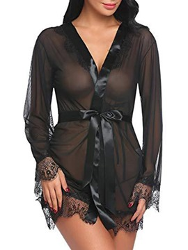 Ericdress Lace Cardigan Long Sleeve Robe Babydolls