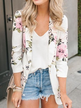 Ericdress Floral Print Shawl Collar Floral Long Sleeve Blazer