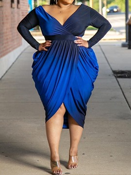 Ericdress Plus Size Mid-Calf V-Neck Pleated Regular High Waist Dress