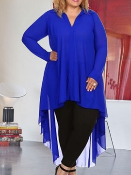 Ericdress Plus Size V-Neck Plain Swallowtail Long Sleeve Long Blouse