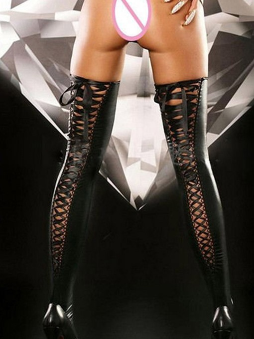 Ericdress Lace-Up Leather Thigh-High Stocking Bodystockings