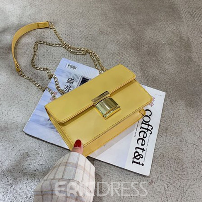Ericdress PU Chain Lock Rectangle Crossbody Bags