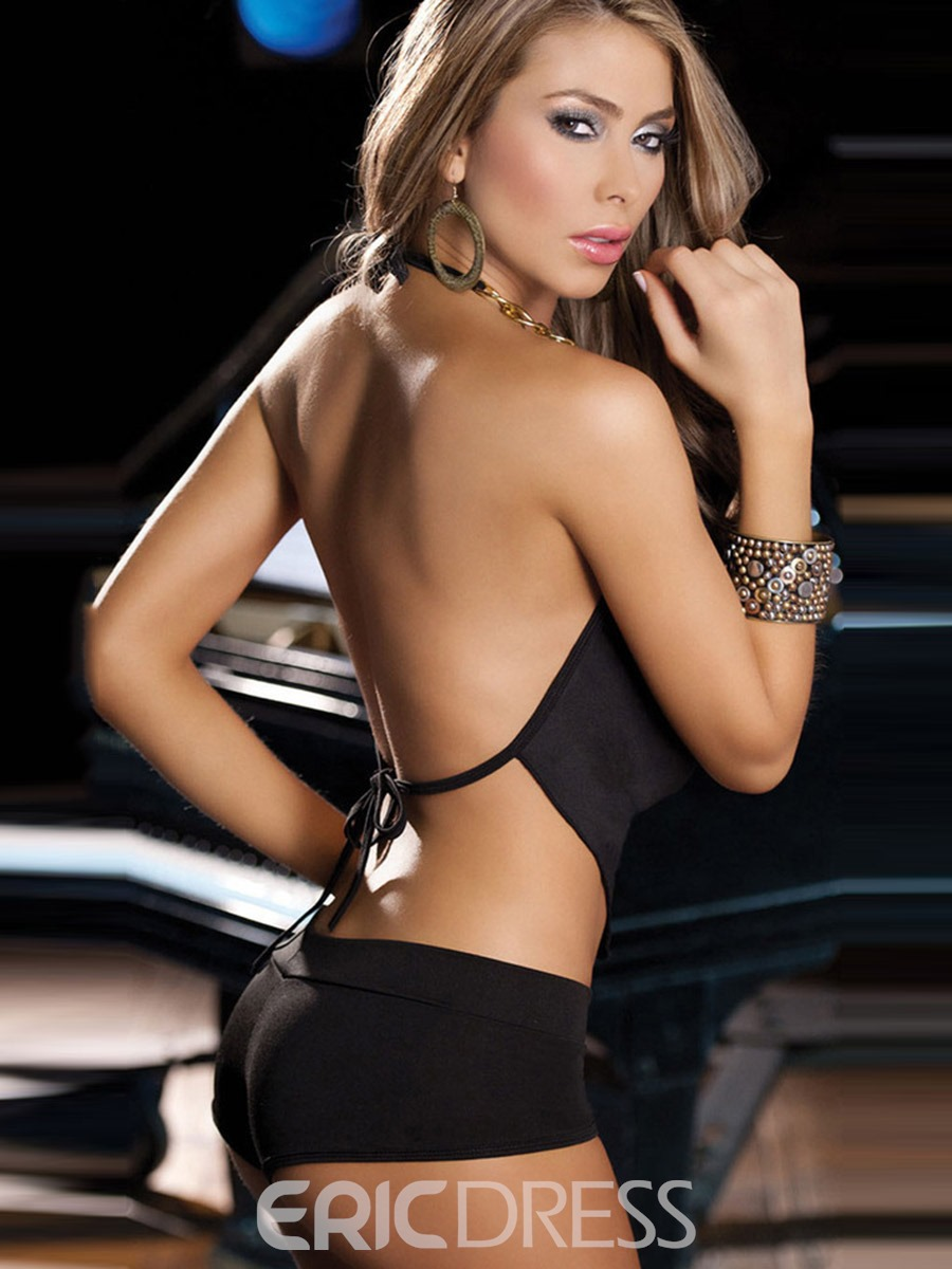 Ericdress Lace-Up Plain Backless Sleeveless Spandex Sexy Sets