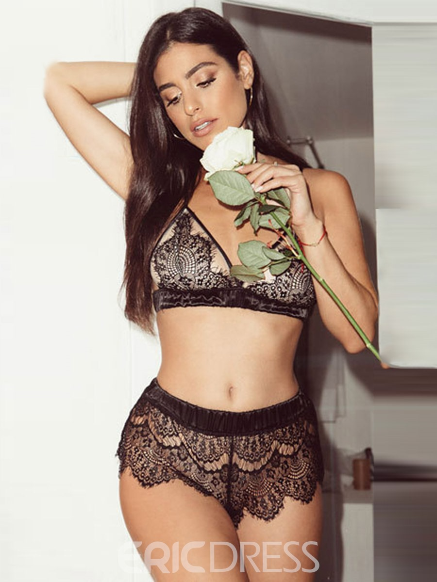 Ericdress Hollow Geometric Three-Point Lace Sexy Bra Sets