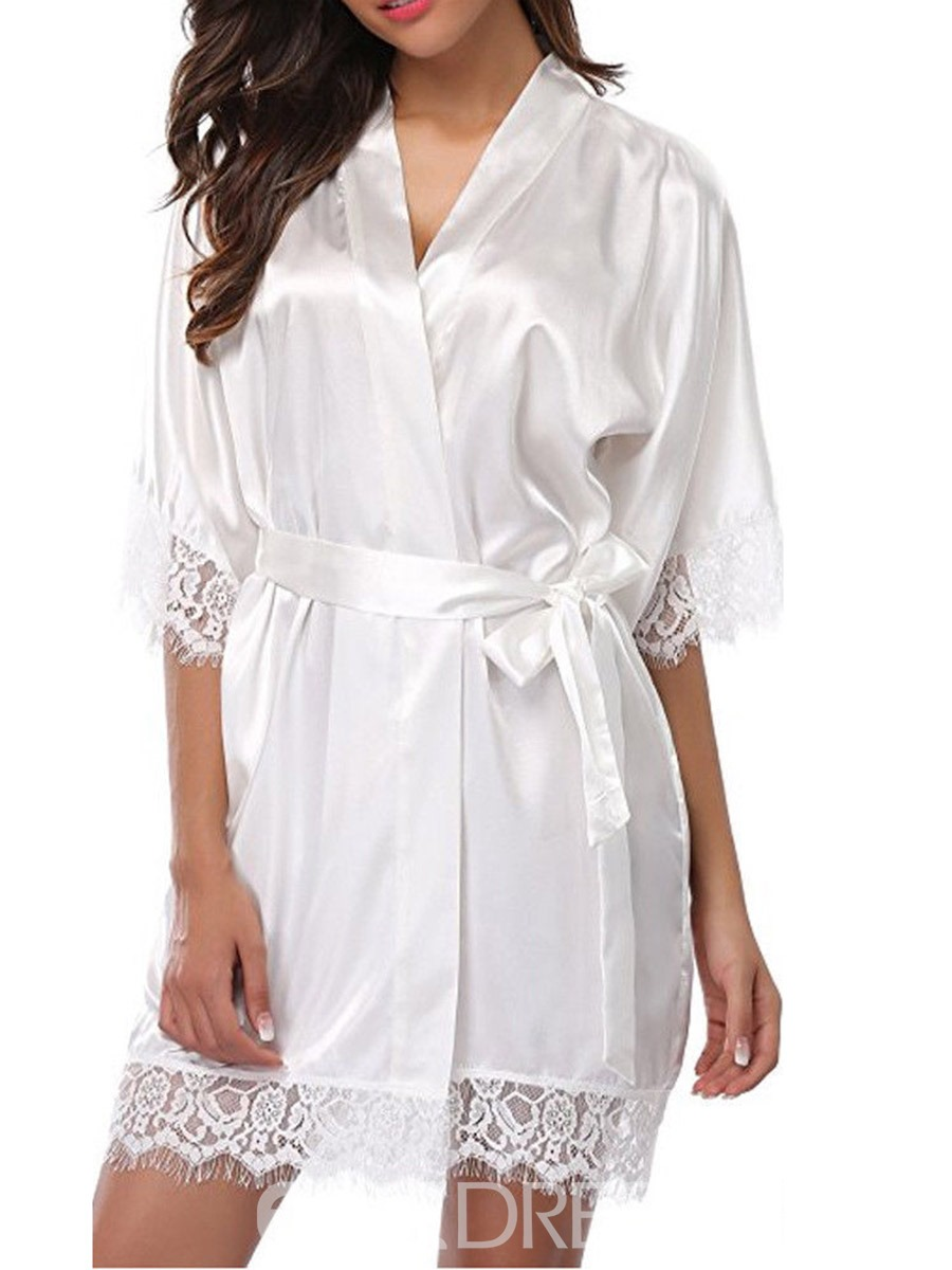 Ericdress Lace-Up Floral Cardigan Robe Half Sleeve Nightgown