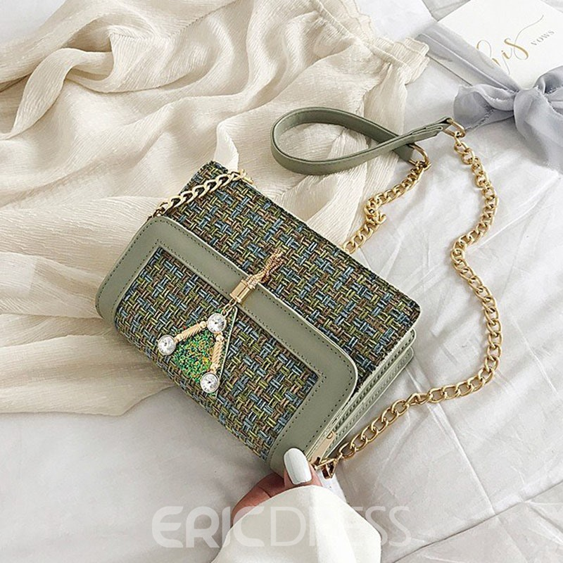 Ericdress PU Chain Magnetic Snap Rectangle Crossbody Bags