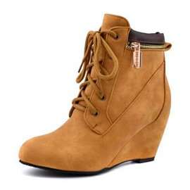 Ericdress Plain Round Toe Wedge Heel Women's Boots