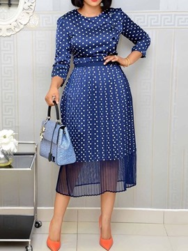 Ericdress Print Sleeve Round Neck High Waist Polka Dots Dress