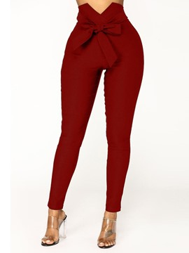 Ericdress Plain Skinny Zipper Full Length Casual Pants