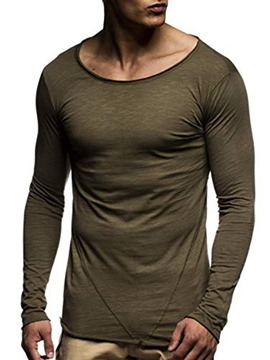 Ericdress Regular Plain Round Neck Men's Slim T-shirt