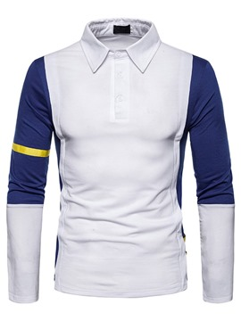 Ericdress Button Color Block Men's Polo Shirt