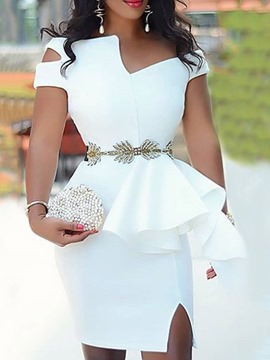 Ericdress OL Short Sleeve Above Knee Split Ruffles Bodycon White Dress(Without Waistband)