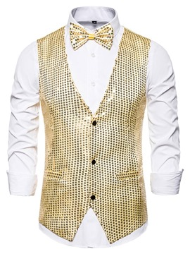 Ericdress Plain V-Neck Sequins Men's Fashion Waistcoat
